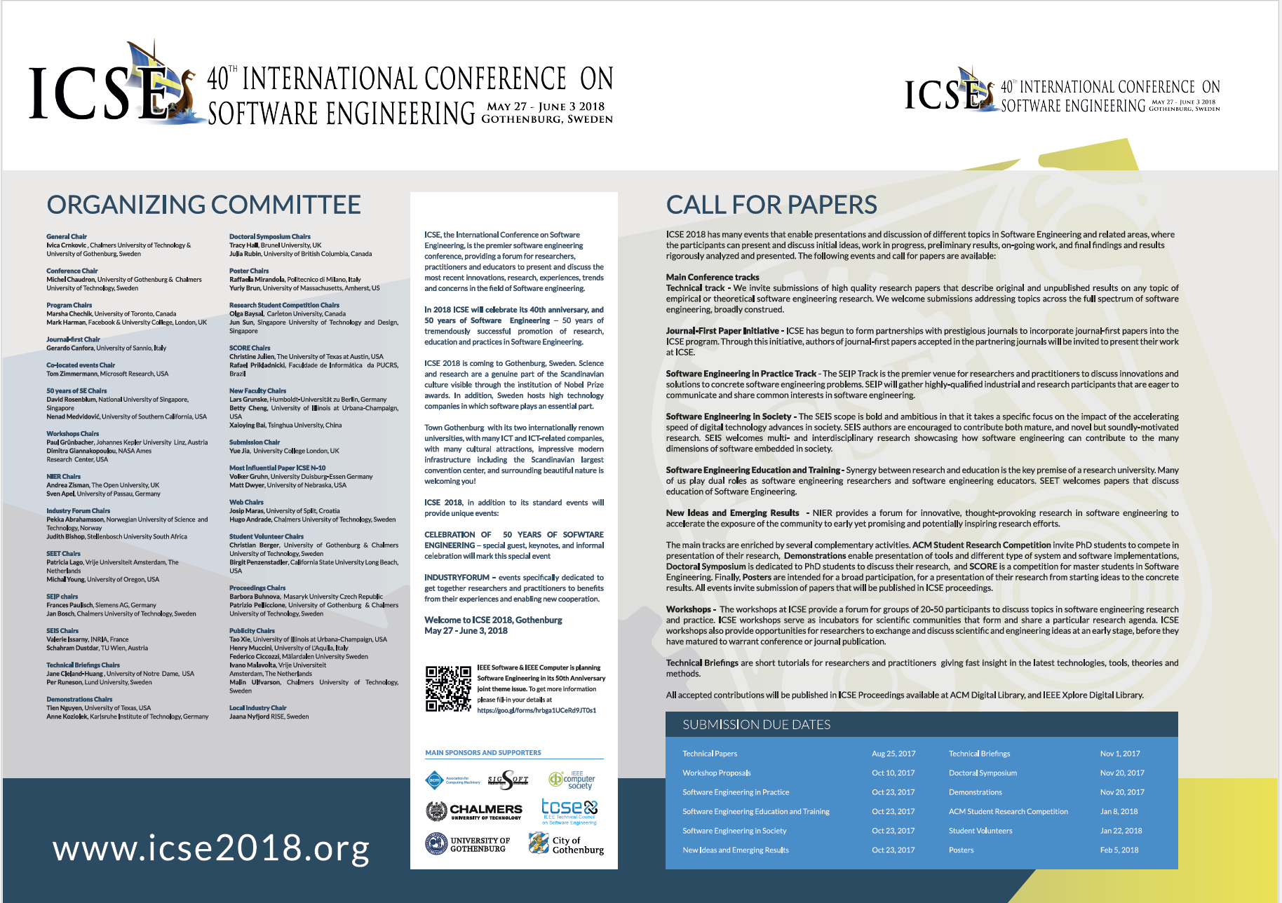 ICSE 2018 Flyer - 2 pages letter format